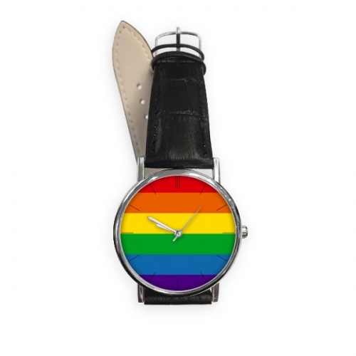 LGBT Rainbow Gay Lesbian Transgender Bisexuals Support Flag Illustration Quartz Analog Wrist Business Casual Watch with Stainless Steel Case Gift