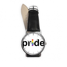 LGBT Rainbow Gay Lesbian Transgender Bisexuals Support Pride Flag Illustration Quartz Analog Wrist Business Casual Watch with Stainless Steel Case Gift