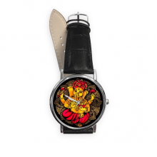 Culture Religion Customs Black Red Yellow Elephant Lotus Round Illustration Pattern Quartz Analog Wrist Business Casual Watch with Stainless Steel Case Gift