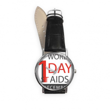 1st December World AIDS Day Solidarity HIV Awareness Symbol Quartz Analog Wrist Business Casual Watch with Stainless Steel Case Gift