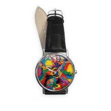 Abstract Color Elements Oil Painting Illustration Pattern Quartz Analog Wrist Business Casual Watch with Stainless Steel Case Gift