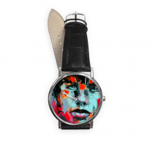 Abstract Character Figure Boy Oil Painting Illustration Pattern Quartz Analog Wrist Business Casual Watch with Stainless Steel Case Gift