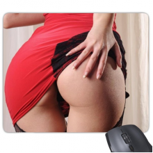 Hole Fishnets Pink Dress Hot Buttocks Sexy Girl Mouse Pad Non-Slip Rubber Mousepad Game Office