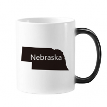 Nebraska The United States Of America USA Map Outline Morphing Heat Sensitive Changing Color Mug Cup Gift Milk Coffee With Handles 350 ml