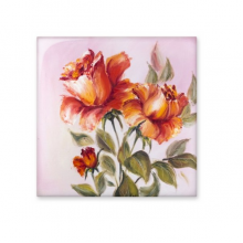 Still Life Oil Painting Flower Rose Leaf Illustration Pattern Ceramic Bisque Tiles for Decorating Bathroom Decor Kitchen Ceramic Tiles Wall Tiles