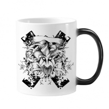 Black White Monster Cross Baroque Art Angle Flower Leaf Modern Illustration Pattern Morphing Heat Sensitive Changing Color Mug Cup Gift Milk Coffee With Handles 350 ml