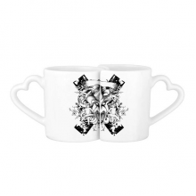 Black White Monster Cross Baroque Art Angle Flower Leaf Modern Illustration Pattern Lovers' Mug Lover Mugs Set White Pottery Ceramic Cup Gift Milk Coffee Cup with Handles