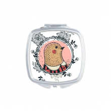 Baroque Art Pigeon Flower Leaf Frame Modern Cartoon Illustration Pattern Square Compact Makeup Pocket Mirror Portable Cute Small Hand Mirrors Gift