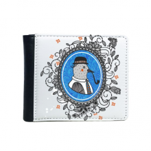 Baroque Art Pigeon Hat Tabacco Pipe Flower Leaf Frame Modern Cartoon Illustration Pattern Flip Bifold Faux Leather Wallet  Multi-Function Card Purse Gift