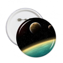 A Blue Planet And Two Yellow Planets In The Universe Illustration Pattern Round Pins Badge Button Clothing Decoration Gift 5pcs