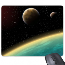 A Blue Planet And Two Yellow Planets In The Universe Illustration Pattern Rectangle Non-Slip Rubber Mousepad Game Mouse Pad Gift
