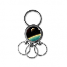 A Blue Planet And Two Yellow Planets In The Universe Illustration Pattern Metal Key Chain Ring Car Keychain Creative Trinket Keyring Novelty Item Best Charm Gift