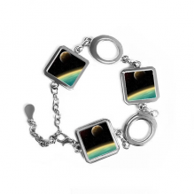 A Blue Planet And Two Yellow Planets In The Universe Illustration Pattern Square Shape Metal Bracelet Love Gifts Jewelry With Chain Decoration