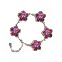 Rose Red Monoceros Rosette Nebula Illustration Pattern Flower Shape Metal Bracelet Chain Gifts Jewelry With Chain Decoration