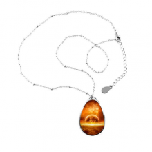Golden Red Planet Like Flame Burning Illustration Pattern Teardrop Shape Pendant Necklace Jewelry With Chain Decoration Gift
