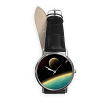 A Blue Planet And Two Yellow Planets In The Universe Illustration Pattern Quartz Analog Wrist Business Casual Watch with Stainless Steel Case Gift
