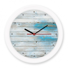 Blue White Wood Mordern Bright Perforation Stripes Illustration Pattern Silent Non-ticking Round Wall Decorative Clock Battery-operated Clocks Gift Home Decal