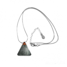 Balck Grey Cement  Mahogany Wood Ornament Illustration Pattern Triangle Shape Pendant Necklace Jewelry With Chain Decoration Gift
