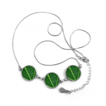 Dark Green Vertical Vein Plant Nature Fresh Illustration Pattern Round Shape Pendant Necklace Jewelry With Chain Decoration Gift