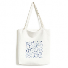 Abstract Blue Chemical Molecular Structure Illustration Fashionable Design High Quality Canvas Bag Environmentally Tote Large Gift Capacity Shopping Bags