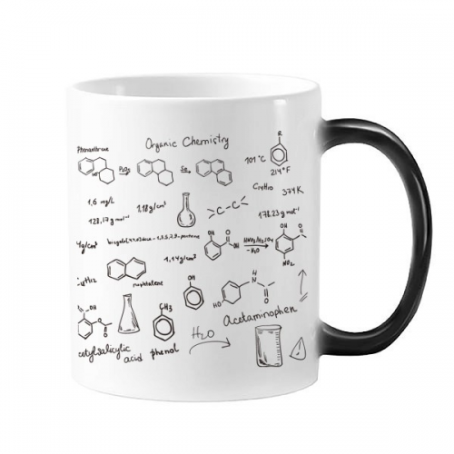 Organic Chemistry Experimental Molecular Atomic Structure Illustration Morphing Heat Sensitive Changing Color Mug Cup Gift Milk Coffee With Handles 350 ml