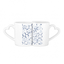 Abstract Blue Chemical Molecular Structure Illustration Lovers' Mug Lover Mugs Set White Pottery Ceramic Cup Gift Milk Coffee Cup with Handles