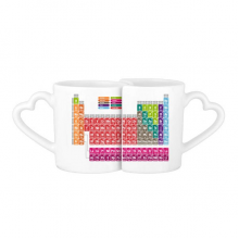 Cute Succinct Color Chemistry Periodic Table Lovers' Mug Lover Mugs Set White Pottery Ceramic Cup Gift Milk Coffee Cup with Handles