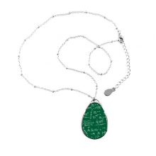 Green Seeking Limits Mathematical Formulas Science Calculus Painted Stick Figure Teardrop Shape Pendant Necklace Jewelry With Chain Decoration Gift