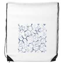 Abstract Blue Chemical Molecular Structure Illustration Drawstring Backpack Fine Lines Shopping Creative Handbag Gift Shoulder Environmental Polyester Bag