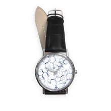 Abstract Blue Chemical Molecular Structure Illustration Quartz Analog Wrist Business Casual Watch with Stainless Steel Case Gift
