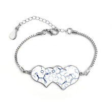 Abstract Blue Chemical Molecular Structure Illustration Double Hearts Shape Round-Cut Cubic Chain Bracelet Love Gifts