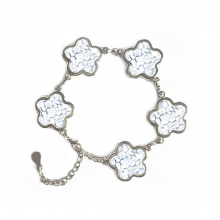 Abstract Blue Chemical Molecular Structure Illustration Flower Shape Metal Bracelet Chain Gifts Jewelry With Chain Decoration