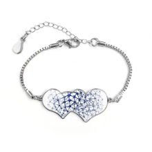 Abstract Atomic Structure Physical Three-dimensional Illustration Double Hearts Shape Round-Cut Cubic Chain Bracelet Love Gifts