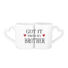 For My Family Got It From My Brother Present Lovers' Mug Lover Mugs Set White Pottery Ceramic Cup Gift Milk Coffee Cup with Handles