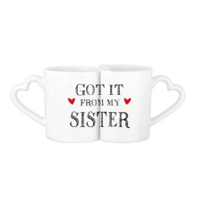 For My Family Got It From My Sister Present Lovers' Mug Lover Mugs Set White Pottery Ceramic Cup Gift Milk Coffee Cup with Handles