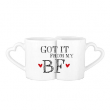 For GF Got It From My BF Girlfriend Valentine's Day Present Lovers' Mug Lover Mugs Set White Pottery Ceramic Cup Gift Milk Coffee Cup with Handles