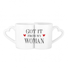 For My Man Got It From My Woman Valentine's Day Present Lovers' Mug Lover Mugs Set White Pottery Ceramic Cup Gift Milk Coffee Cup with Handles