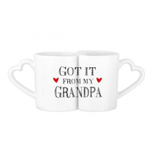 Got It From My Grandpa Grandchildren Grandfather Present Lovers' Mug Lover Mugs Set White Pottery Ceramic Cup Gift Milk Coffee Cup with Handles