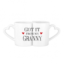 Got It From My Granny Grandchildren Grandma Present Lovers' Mug Lover Mugs Set White Pottery Ceramic Cup Gift Milk Coffee Cup with Handles