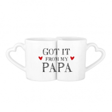Got It From My Papa Children Father Present Lovers' Mug Lover Mugs Set White Pottery Ceramic Cup Gift Milk Coffee Cup with Handles