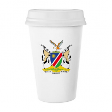 The Republic of Namibia Flag National Emblem Africa Country Classic Mug White Pottery Ceramic Cup Milk Coffee Cup Gift 350 ml
