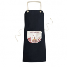 Amsterdam Netherlands Flat Landmark Pattern Cooking Kitchen Black Bib Aprons With Pocket for Women Men Chef Gifts