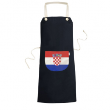Croatia National Flag Europe Country Symbol Mark Pattern Cooking Kitchen Black Bib Aprons With Pocket for Women Men Chef Gifts