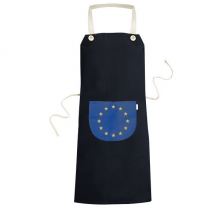 EU National Flag Europe Country Symbol Mark Pattern Cooking Kitchen Black Bib Aprons With Pocket for Women Men Chef Gifts
