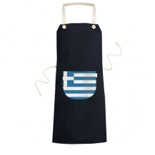 Greece National Flag Europe Country Symbol Mark Pattern Cooking Kitchen Black Bib Aprons With Pocket for Women Men Chef Gifts