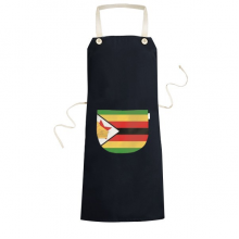 Zimbabwe National Flag Africa Country Symbol Mark Pattern Cooking Kitchen Black Bib Aprons With Pocket for Women Men Chef Gifts