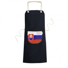 Slovakia National Flag Europe Country Symbol Mark Pattern Cooking Kitchen Black Bib Aprons With Pocket for Women Men Chef Gifts