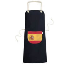 Spain National Flag Europe Country Symbol Mark Pattern Cooking Kitchen Black Bib Aprons With Pocket for Women Men Chef Gifts