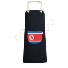 North Korea National Flag Asia Country Symbol Mark Pattern Cooking Kitchen Black Bib Aprons With Pocket for Women Men Chef Gifts