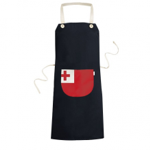 Tonga National Flag Oceania Country Symbol Mark Pattern Cooking Kitchen Black Bib Aprons With Pocket for Women Men Chef Gifts